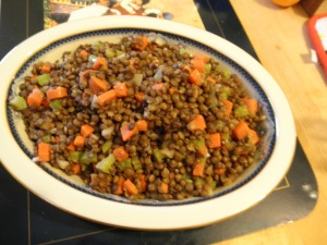 This warm lentil salad goes beautifully with the duck and the puree.