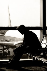 Woman Waiting in Airport (BW Silhouette)