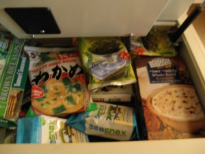 LAX Hilton, October 2012.  In-room safe drawer is used for storing healthy snacks. Very valuable merchandise.